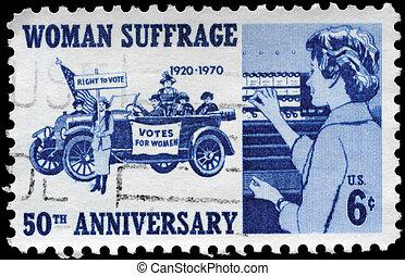 USA - CIRCA 1970 Woman Suffrage - USA - CIRCA 1970: A Stamp...