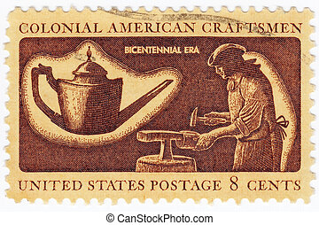 USA - CIRCA 1972: stamp printed in USA shows a colonial ...