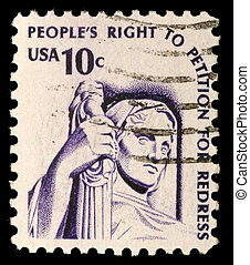 A stamp printed in the USA shows Contemplation of Justice