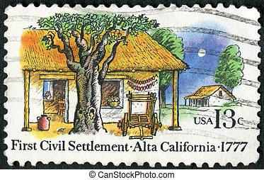 USA - CIRCA 1977: A stamp printed in USA shows Farm Houses,...
