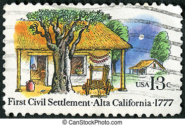 USA - CIRCA 1977: A stamp printed in USA shows Farm Houses,...