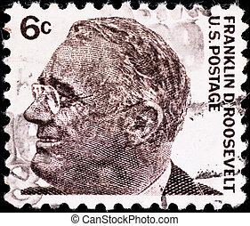 USA - CIRCA 1980's: postage stamp with USA president Franklin Roosevelt, circa 1980's
