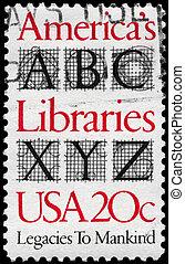 USA - CIRCA 1982 Libraries - USA - CIRCA 1982: A Stamp...