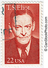 USA - CIRCA 1986 : stamp printed in the USA show Thomas Stearns Eliot was an American-born English poet, playwright and literary critic, circa 1986