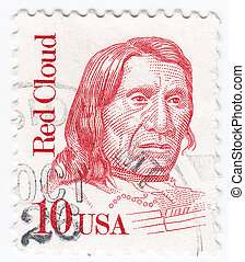 USA - CIRCA 1987 : stamp printed in USA showing Red Cloud American war leader of the Oglala Lakota, Native American opponents of US army, circa 1987