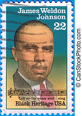 James Weldon Johnson - USA - CIRCA 1988: a stamp printed in...