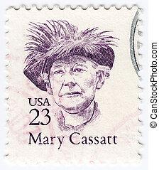USA - CIRCA 1988 : stamp printed in USA shows painter Mary Cassatt, circa 1988