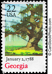 USA - CIRCA 1988 Tree - USA - CIRCA 1988: A Stamp printed in...