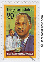 USA - CIRCA 1989 : stamp printed in USA shows Percy Lavon ...