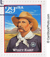 USA - CIRCA 1994 : Stamp printed in the USA shows Wyatt Berry Stapp Earp officer of the law in various Western frontier towns in the American Old West, circa 1994