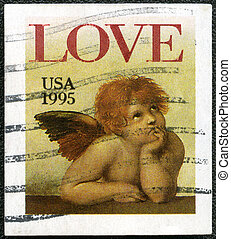 "USA - CIRCA 1995: A stamp printed in USA shows word ""love""..."