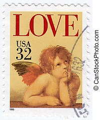 USA - CIRCA 1995 : stamp printed in USA shows angel from pic Sistine Madonna of painter Raphael , circa 1995
