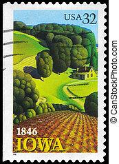 USA - CIRCA 1996 Iowa - USA - CIRCA 1996: A Stamp printed in...