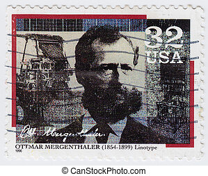 USA - CIRCA 1996 : stamp printed in USA shows Ottmar Mergenthaler inventor of the Linotype machine, circa 1996