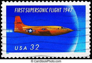 USA - CIRCA 1997 Supersonic - USA - CIRCA 1997: A Stamp...