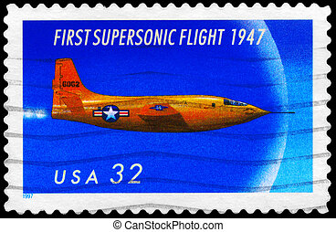 USA - CIRCA 1997: A Stamp printed in USA shows the First Supersonic Flight, 50th annivesary, circa 1997