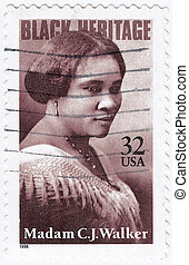 USA - CIRCA 1998 : stamp printed in USA show Madam C. J....