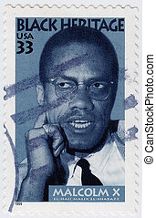 USA - CIRCA 1999 : stamp printed in USA shows Malcolm X...