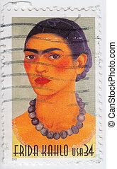 USA - CIRCA 2001 : stamp printed in USA show great Mexican painter Frida Kahlo, circa 2001