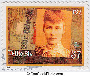 USA - CIRCA 2002 : stamp printed in USA show Nellie Bly ...