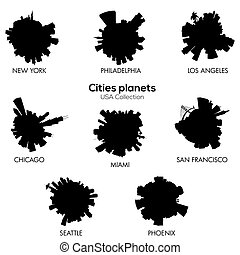 USA cities vector circular skylines c