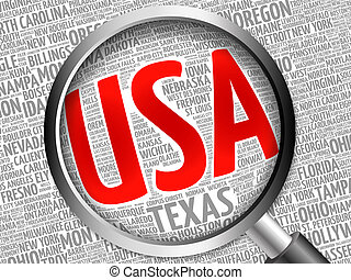 USA cities word cloud with magnifying glass