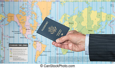 USA Citizen with passport and world map of timezones