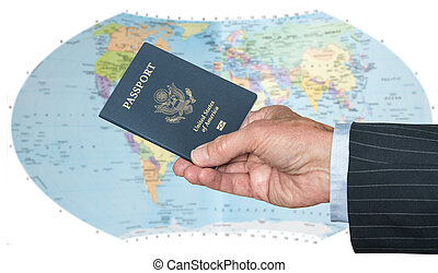 USA Citizen with passport and world map