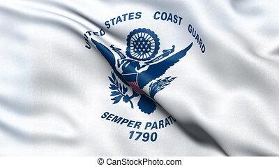 USA Coast Guard flag seamless loop