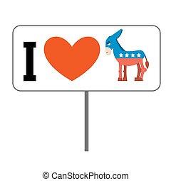 usa., coeur, uni, amour, donkey., affiche, symbole, politique, élections, democrats., america., patriotique, emblème, débat, etats