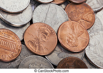 USA Coins Pile Background