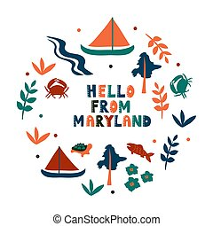 USA collection. Hello from Maryland theme. State Symbols