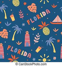 USA collection. Vector illustration of Florida theme. State Symbols