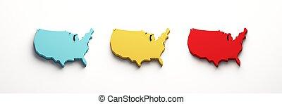 USA Color United States Maps . 3D Render Illustration - USA...