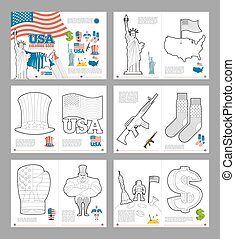 USA coloring book. Patriotic book for coloring. National Symbols America. Statue of Liberty and Uncle Sam hat. Map and flag USA. Dollar and boxing glove. Military Rifle, gun and socks. Astronaut on moon