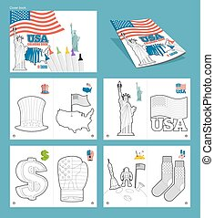 USA coloring book. Patriotic illustrations. National Symbols America. Uncle Sam hat and map of ountry. Statue of Liberty and USA flag. dollar symbol and boxing glove. National socks and astronaut on moon