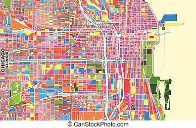 u.s.a., colorito, illinois, chicago, vettore, mappa