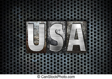 "USA Concept Metal Letterpress Type - The word ""USA"" written..."