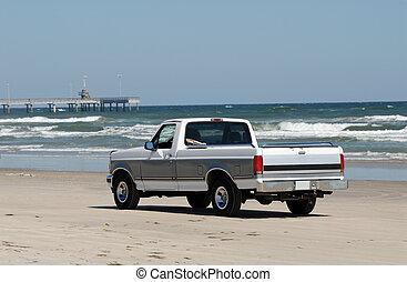 usa, conduite, méridional, camionnette, texas, plage