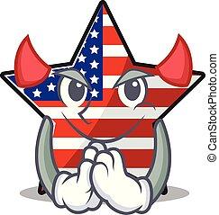 usa, confiant, étoile, mascotte, caractère, diable, heureux
