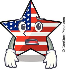 usa, confiant, étoile, mascotte, caractère, effrayé, heureux