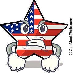 usa, confiant, étoile, mascotte, caractère, fâché, heureux