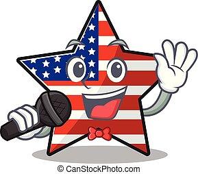 usa, confiant, étoile, mascotte, caractère, heureux, chant
