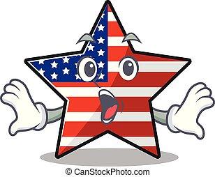 usa, confiant, étoile, mascotte, caractère, surpris, heureux