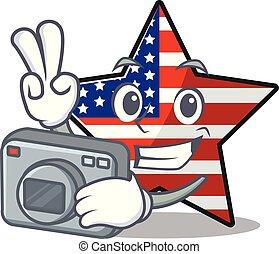 usa, confiant, étoile, photographe, mascotte, caractère, heureux