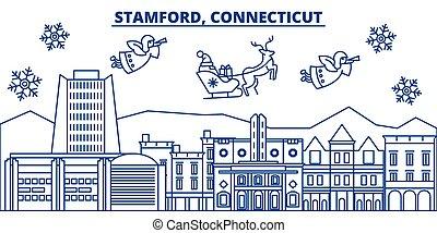 USA, Connecticut, Stamford winter city skyline. Merry ...