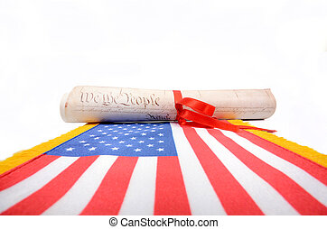 Usa Constitution, Declaration of independence on white background