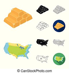 USA country cartoon, black, flat, monochrome, outline icons in set collection for design. Travel and attractions vector symbol stock web illustration.