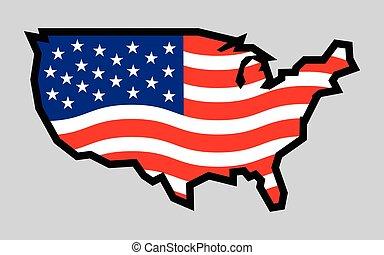 usa country shape flag