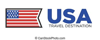 USA country travel destination - USA flag with stars and...